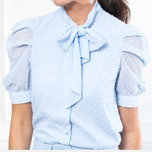 The Shirt. The French Bow Shirt. Sky. XS